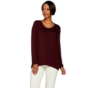 H By Halston Solid Scoop Neck Long Sleeve Knit Top